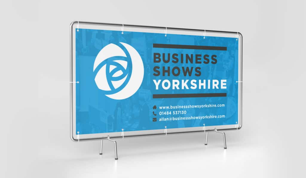 Image of banner seen on a fence for Business Shows Yorkshire