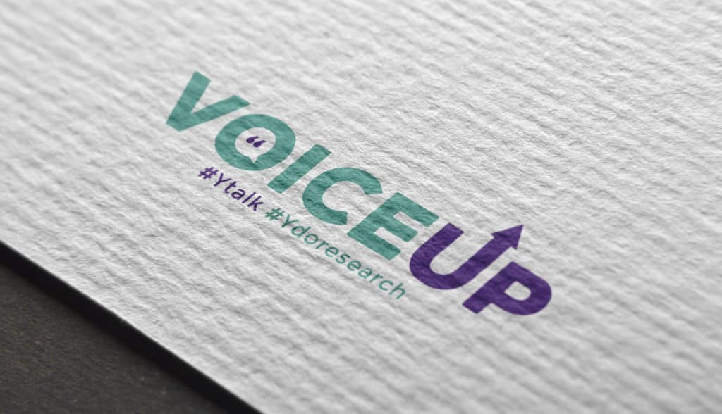 Logo for voiceup shown in print