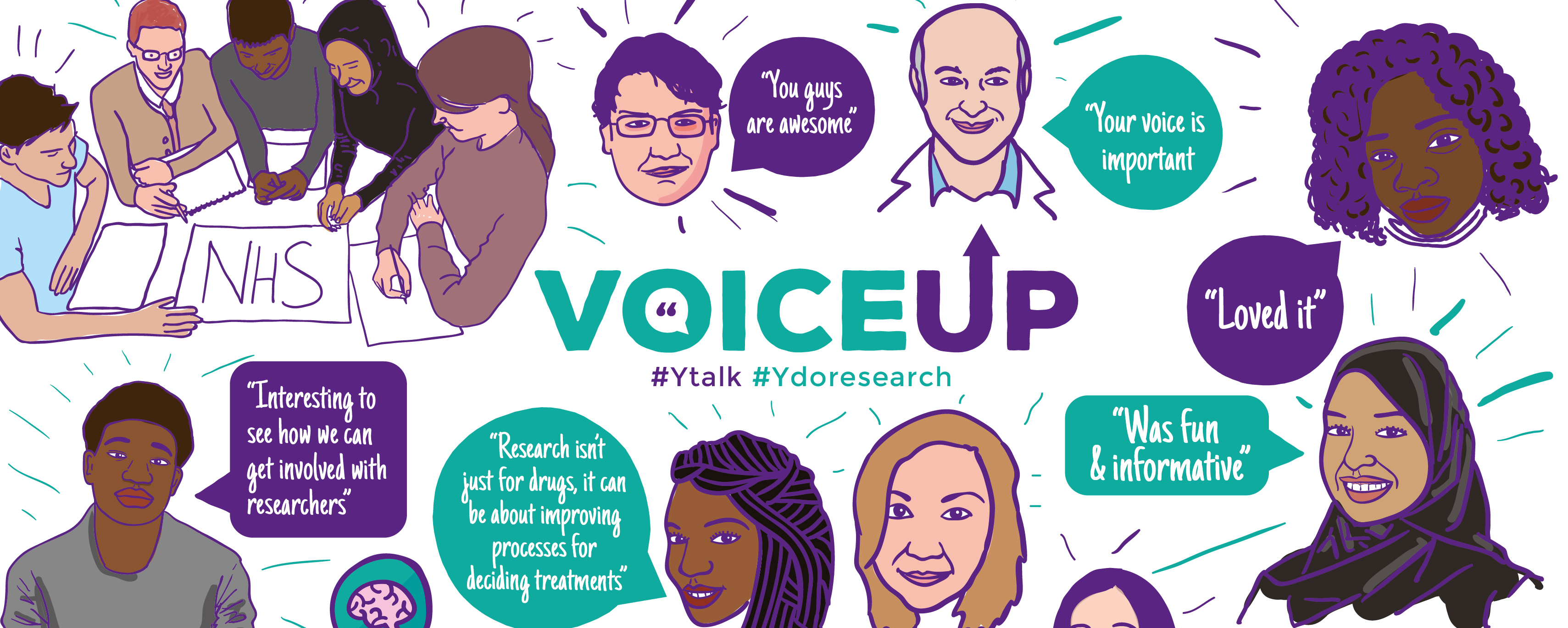 Logo for VoiceUp and Illustrations