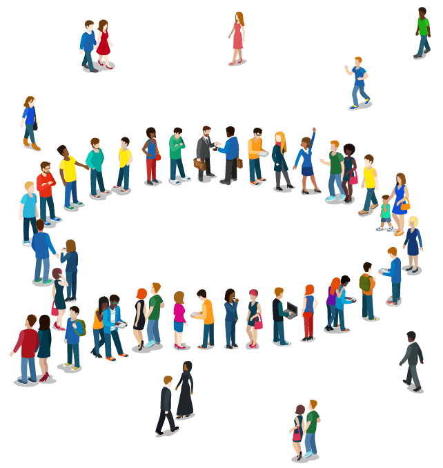 Illustration of people forming a question mark