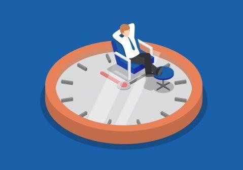 Image of man pottering on clock